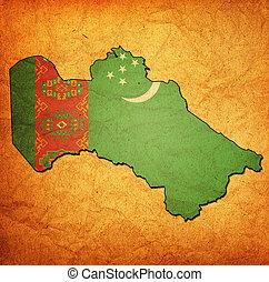 bandeira, território, turkmenistan