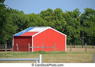 bandeira texas, galpão