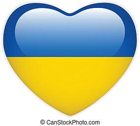 bandeira ucrânia, coração, lustroso, botão