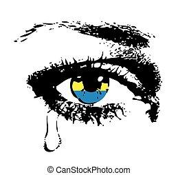 bandeira ucrânia, olho, chorando