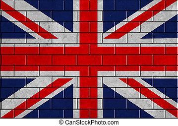 bandeira união, ligado, um, parede tijolo, fundo