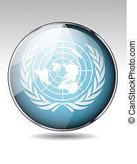 bandeira, unidas, botão, nações