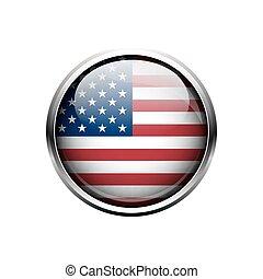 bandeira, unidas, button., américa, estado