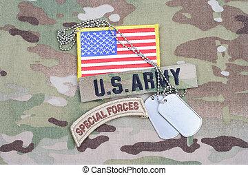 bandeira, uniforme, nós, cão, forças especiais, remendo, camuflagem, aba, exército, tag