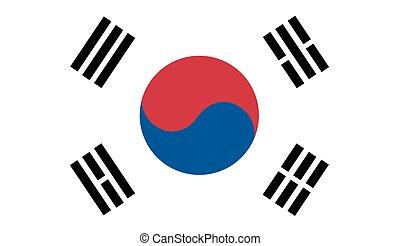 bandeira, vetorial, coréia sul
