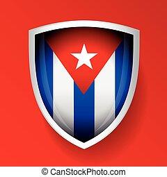 bandeira, vetorial, escudo, cuba