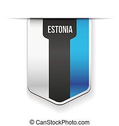 bandeira, vetorial, estónia, fita