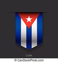 bandeira, vetorial, fita, cuba