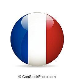 bandeira, vetorial, france., illustration.