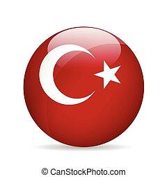 bandeira, vetorial, illustration., turkey.