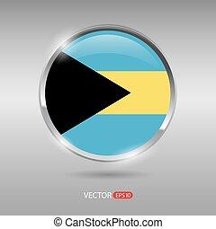 bandeira, vetorial, lustroso, bahamas, brilhante, emblema