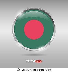 bandeira, vetorial, lustroso, brilhante, emblema, bangladesh