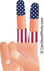 bandeira, vetorial, mão, estados, 10, unidas, eps, sinal paz, macho, gesticule