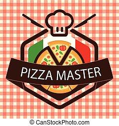 bandeira, vetorial, mestre, logotipo, pizza, italiano