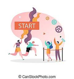 bandeira, vetorial, página, maratona, teia, conceito, site web