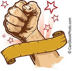 bandeira, vetorial, poderoso, punho, ilustração
