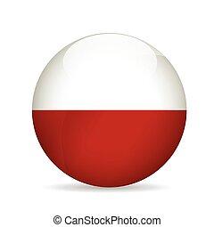 bandeira, vetorial, poland., illustration.