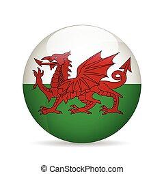 bandeira, vetorial, wales., illustration.