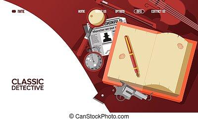 bandeira, webpage, histórias, aproximadamente, illustration., clássico, vetorial, detective., famosos, sherlock, resultado, detetive, aterragem, holmes, biblioteca