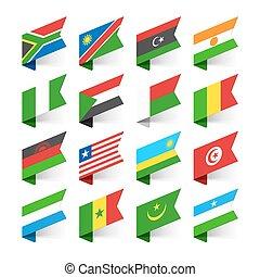 bandeiras, áfrica, mundo