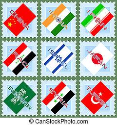 bandeiras, ásia, países