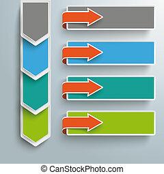 bandeiras, 4, setas, infographic, passos