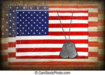 bandeiras americanas, cão, etiquetas