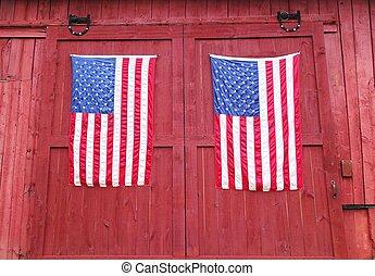 bandeiras, americano, par
