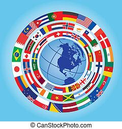 bandeiras, ao redor, globo