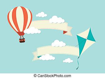 bandeiras, balloon, quentes, papagaio, ar