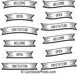 bandeiras, bem-vindo, abertos, fita, convite