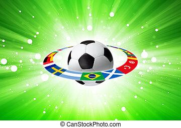 bandeiras, bola futebol, luz