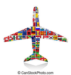 bandeiras, com, avião