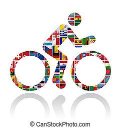 bandeiras, com, bicicleta