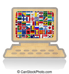 bandeiras, com, computador