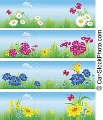 bandeiras, com, flores, em, meadow., vetorial, ilustração