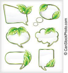 bandeiras, com, leaf., vetorial, ilustração