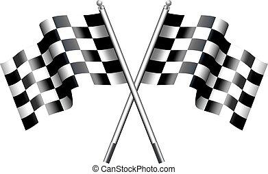 bandeiras, correndo, motor, chequered
