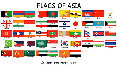 bandeiras, de, ásia