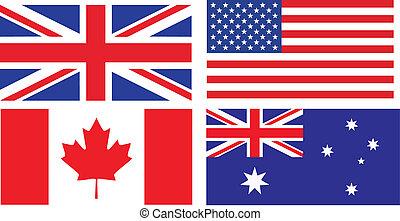 bandeiras, de, inglês, falando, países