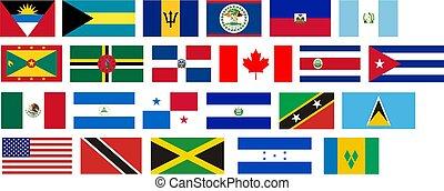 bandeiras, de, tudo, américa do norte, países