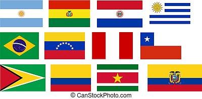 bandeiras, de, tudo, américa sul, países