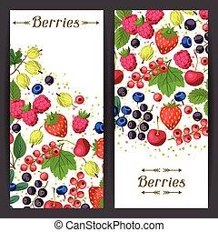 bandeiras, desenho, berries., natureza