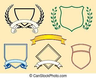 bandeiras, e, logotipo, elementos