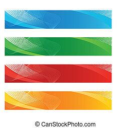 bandeiras, em, haftone, e, curvado, linhas