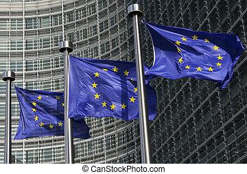 bandeiras européias, em, bruxelas