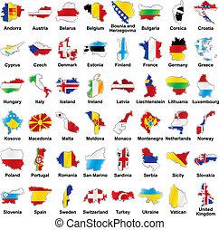 bandeiras européias, em, mapa, forma, com, detalhes