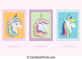 bandeiras, fantasia, arco íris, sonho, unicórnios, cabelo, caricatura