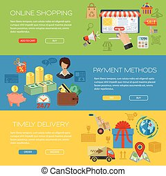 bandeiras, fazendo compras online