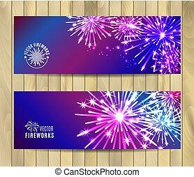 bandeiras, fireworks., vetorial, set., ilustração